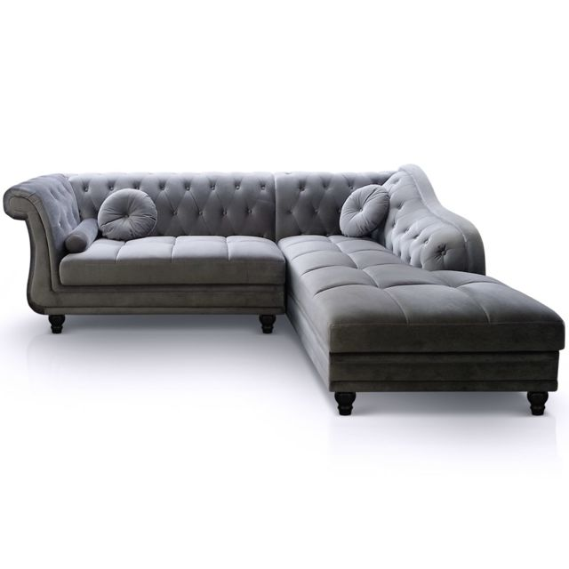 MENZZO Canapé d'angle Brittish Velours Argent style Chesterfield