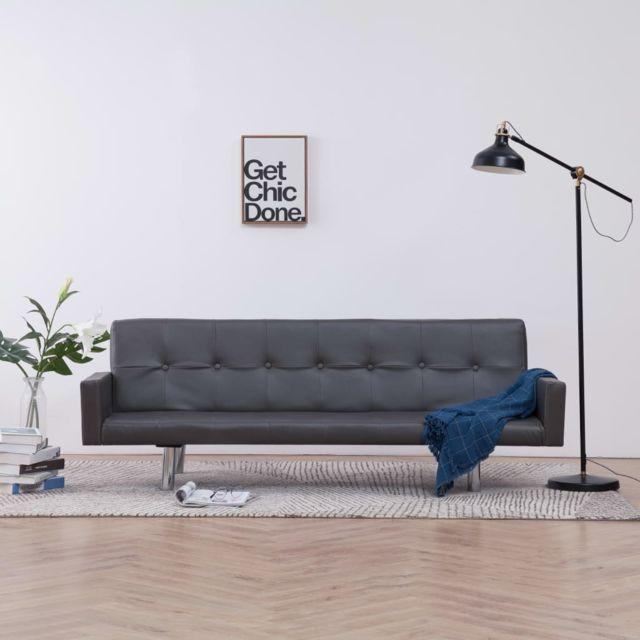 sublime Meubles serie Canberra Canapé-lit avec accoudoir Gris Similicuir