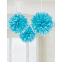 Amscan - Boules de décoration turquoises x3