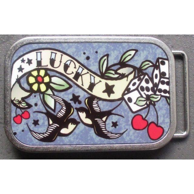 Universel - Boucle de ceinture lucky hirondelle cerise dé style tattoo 2246be5523e