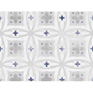 Graham And Brown - Papier peint 100% intissé motif carreau de ciment effet vieilli gris/bleu 10.05x0.52m Selya 0cm x 0cm