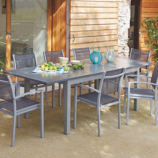 Alinéa - Felton Table de jardin à allonges en aluminium ...