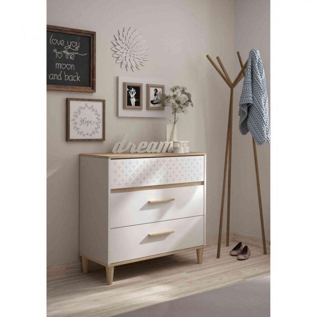 TERRE DE NUIT Commode 3 tiroirs en bois blanc - CO5020