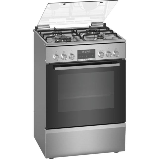 Bosch cuisinière gaz 63l 4 feux inox - hxs79rj50
