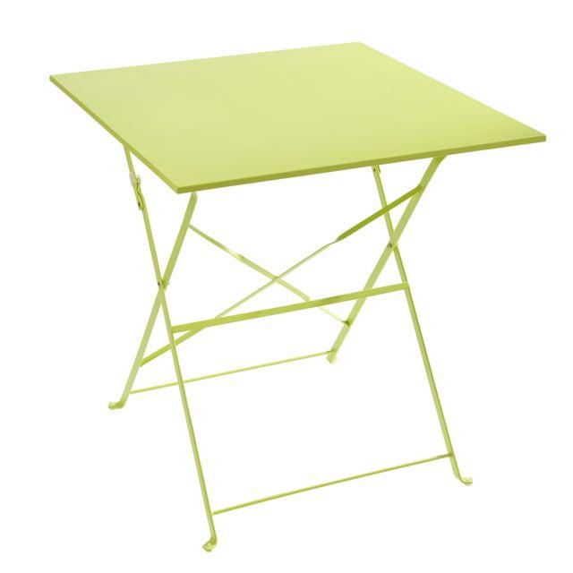 CARREFOUR - Table Bistrot carrée pliante - Vert 70cm x 70cm x 70cm