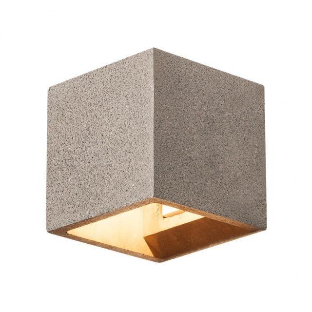 Slv Solid Cube, applique, grès noir, Qt14 max. 25W