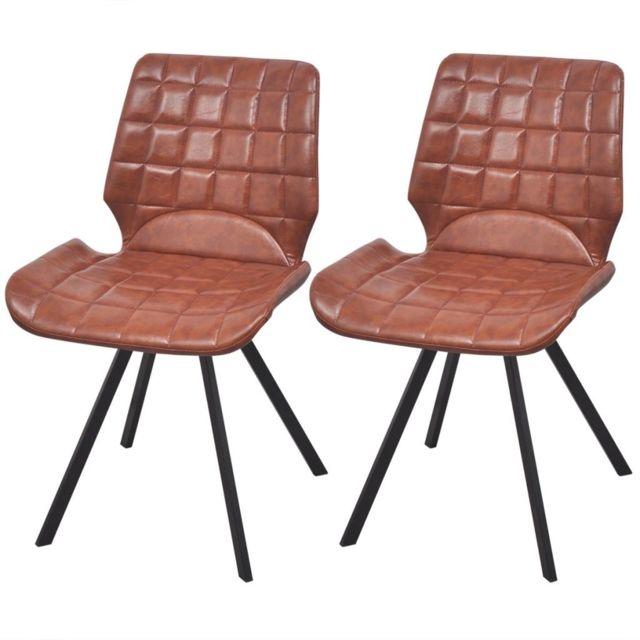 Chaises de salle à manger en cuir artificiel 2 pcs Marron | Brun
