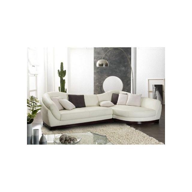 Linea Sofa Canapé d'angle cuir de buffle 5 places Capri Ii - Ivoire - Angle droit