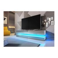 Price Factory   Meuble Tv Design Suspendu Fly 140 Cm à 2 Tiroirs, Coloris  Blanc