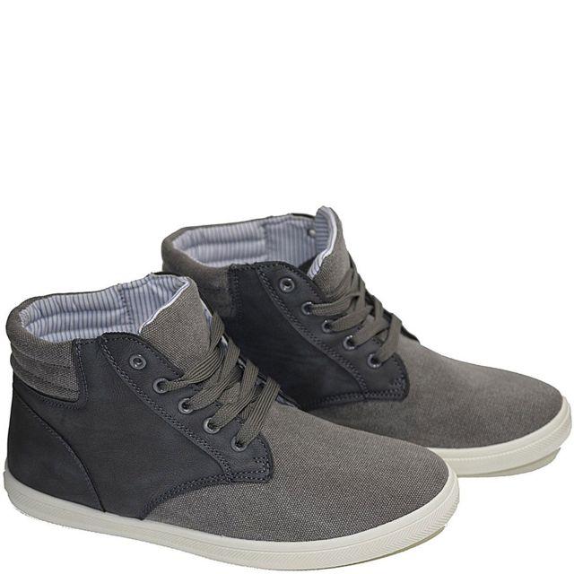 No Brand - Baskets montante en canvas et effet daim gris modele  Yatchbaskets homme, chaussure 17b6788e23a3