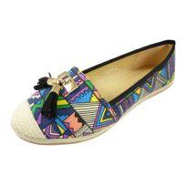 Chaussmaro - Ballerines espadrilles chaussures femme, multicolore a pompons