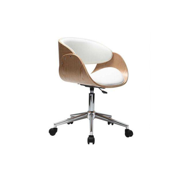 Conception innovante bcf8f a6a30 Chaise de bureau à roulettes blanc et bois clair Bent