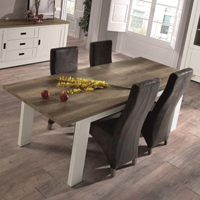 Nouvomeuble Table extensible 190 cm bois et couleur bois clair contemporaine Ethan