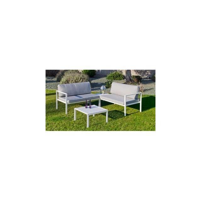 Hevea Ensemble Salon Sofa De Jardin Andgelina Cc2 en Aluminium Blanc Coussins couleur Gris Clair Hev31481