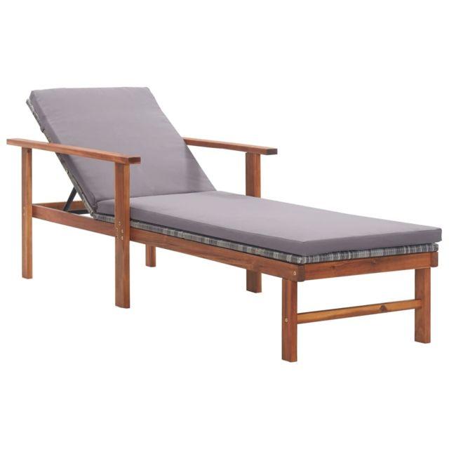 Vidaxl Chaise longue et coussin Résine tressée et bois d'acacia Gris