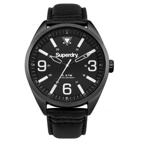 Superdry - Montre Homme modèle Military Noire et Blanche - Syg199BB - cadeau idéal