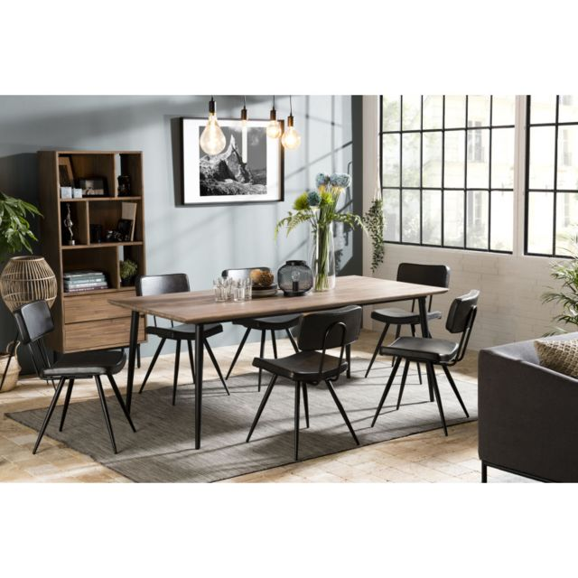 MACABANE Table à manger 200x100cm Acacia pieds métal