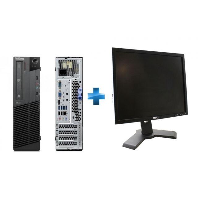 LENOVO - ThinkCentre M81 5049-P14 - Desktop - Intel Core i3 2120 3.3 Ghz - RAM 4 Go - HDD 250 Go SATA - DVD-ROM - Intel HD Graphics 2000 - Windows 10 Home MAR 64 bits + Moniteur PC P190SF - LCD - 19'' - 4:3 - VGA - DVI