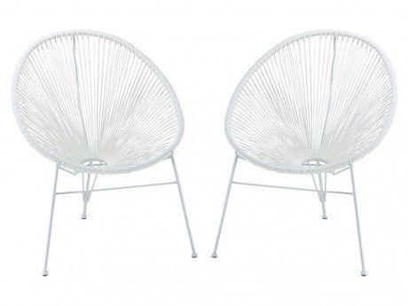 MARQUE GENERIQUE Lot de 2 chaises de jardin ALIOS II en fils de résine tressés - blanc