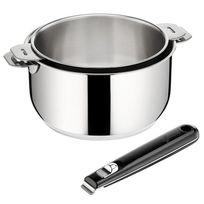 LAGOSTINA - lot de 2 casseroles 16/20cm inox + poignée noire - 12835600203
