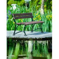 Garden - Banc de jardin en bois couleur noyer et aluminium 150cm