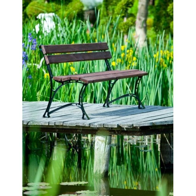 Garden Banc de jardin en bois couleur noyer et aluminium 150cm