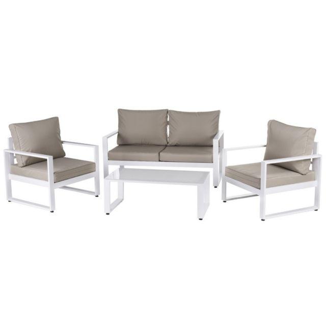 Salon de jardin 5 places en aluminium blanc et coussins beige + table basse  AVILA - L 142 x l 71 x H 72