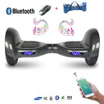 COOL AND FUN - COOL&FUN Hoverboard Batterie Samsung, Bluetooth,Scooter électrique Auto-équilibrage,gyropode connecté 10 pouces Noir carbone