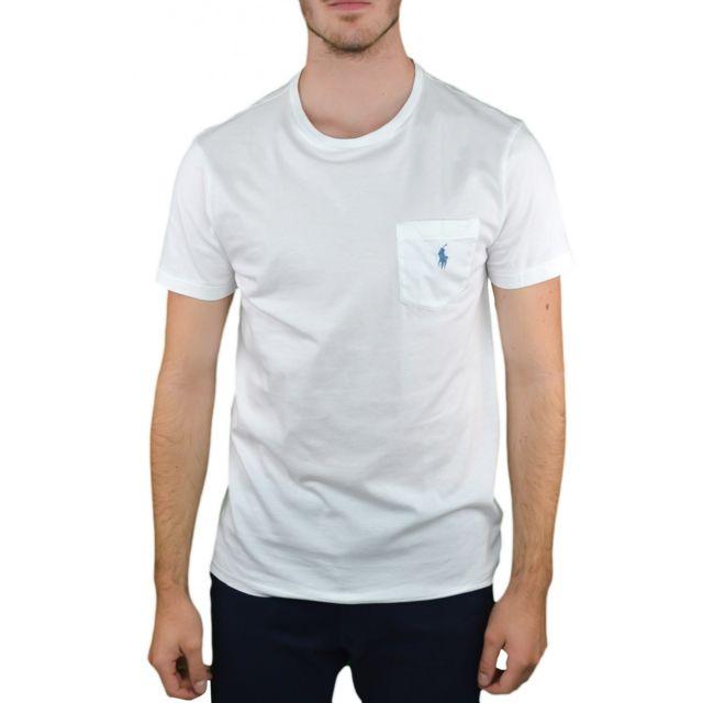 Ralph Lauren - T-shirt col rond blanc pour homme - pas cher Achat   Vente  Tee shirt homme - RueDuCommerce 62f0c881d7cb