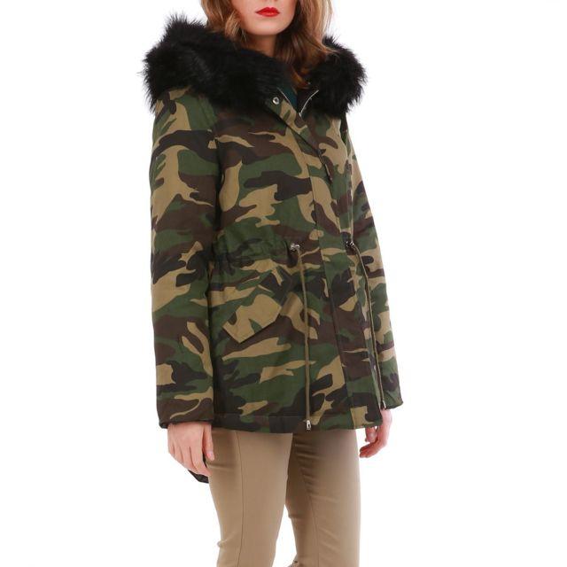 5ebb1f049efb Lamodeuse - Parka imprimé camouflage réversible en doudoune noire  Multicolore - pas cher Achat   Vente Blouson femme - RueDuCommerce