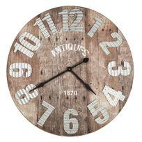 Alinéa - Tessa Horloge murale effet bois et tôle D91.5cm