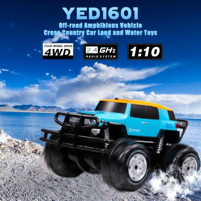 Generic Yed1601 1/10 2.4 Ghz 4 roues motrices grande roue véhicule tout-terrain amphibie véhicule tout-terrain terre et eau joue