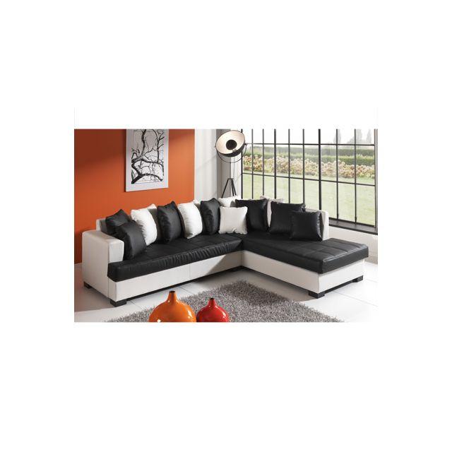 Canapé d'angle à droite blanc et noir Paros