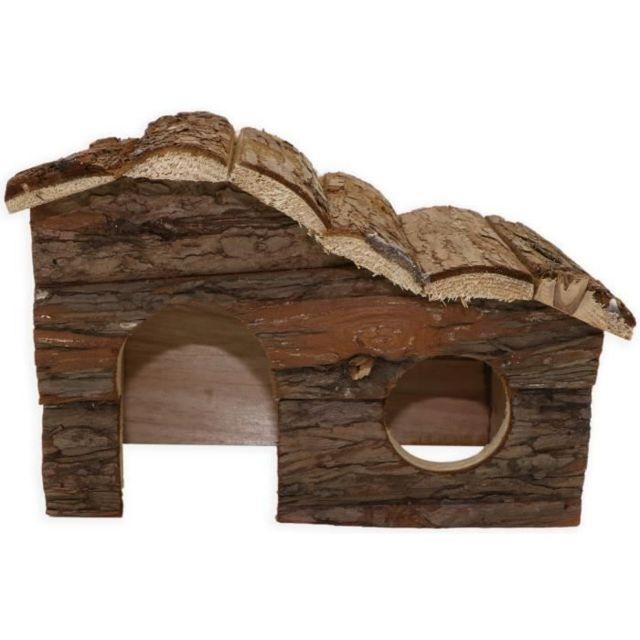 ACCESSOIRE DE CAGE - ABRI PETIT ANIMAL Chalet 100% écorce de cedre - 17 x 25 x 14 cm - Pour cobayes et petits rongeurs