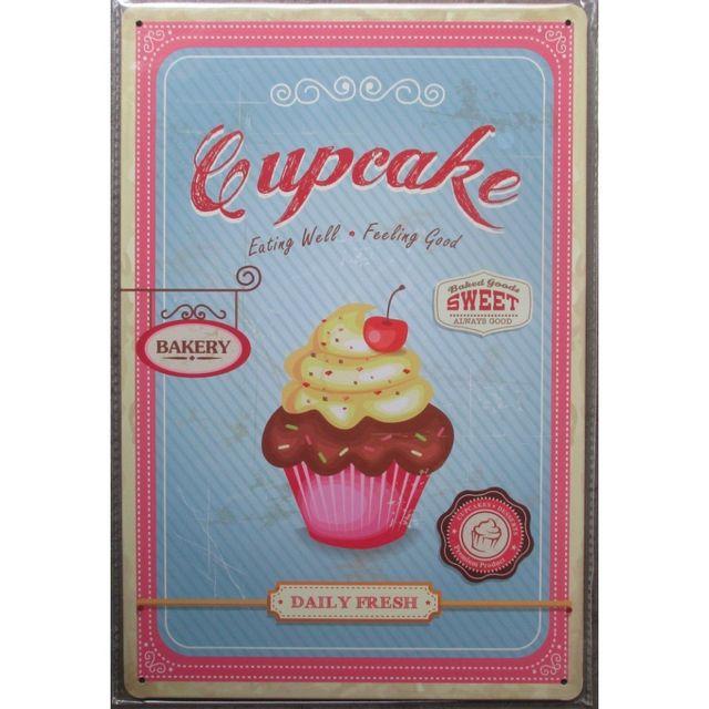 Universel Plaque cupcake deco cuisine salon de thé tole peinte 30cm