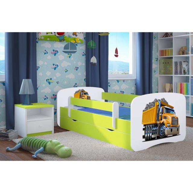 carellia lit enfant camion 80 cm x 160 cm avec barriere de securite sommier tiroirs. Black Bedroom Furniture Sets. Home Design Ideas