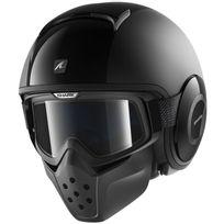 Shark - casque jet moto scooter Drak Raw Dual Blk noir mat brillant Xs
