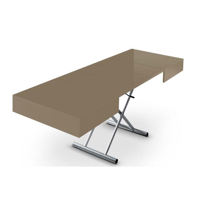 Cote cosy table basse relevable et extensible taupe - Table basse relevable et extensible pas cher ...