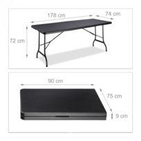 Table de jardin camping pliable 72 x 178 x 74 cm noir 2013111