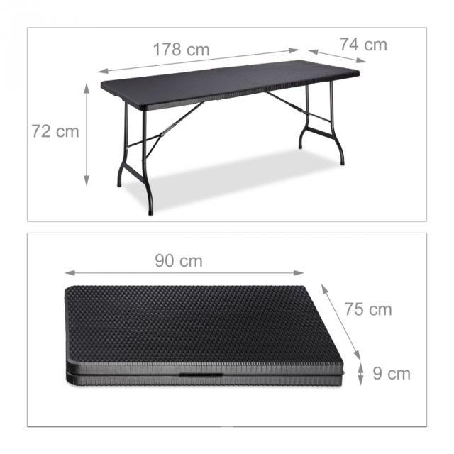 72 2013111 Jardin 74 Pliable Cm Table De Noir Camping 178 X xBWredCo