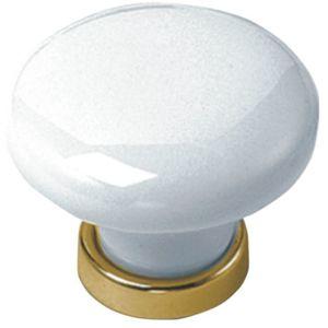 g n rique bouton blanc ou poignee pour porte ou tiroir de meuble porcelaine coloris laiton. Black Bedroom Furniture Sets. Home Design Ideas