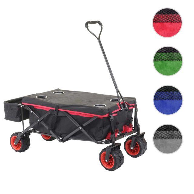 Mendler Chariot pliable Hwc-e62, charette à bras, pneus tout terrain ~ avec recouvrement noir/rouge