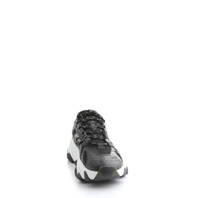 Femme Extremeblack Noir Cuir Baskets