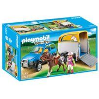 Playmobil - Jeu de Construction Voiture avec Remorque et Cheval
