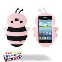 """Muzzano - Coque Souple """"Abeille"""" Premium Rose pour Samsung Galaxy S2 Plus + 3 Films de protection ?cran"""