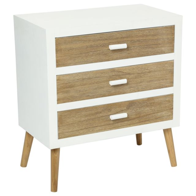 Atmosphera Commode 3 tiroirs Helga - Blanc