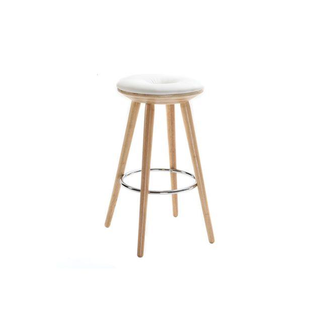 miliboo tabouret de bar scandinave blanc et bois clair 65 cm nordeco pas cher achat vente. Black Bedroom Furniture Sets. Home Design Ideas