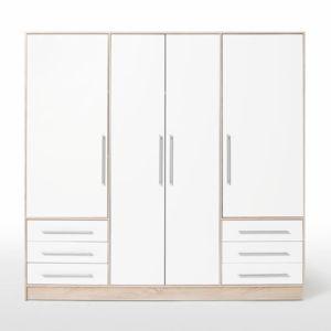 jupiter armoire 206cm chene blanc pas cher achat vente rueducommerce. Black Bedroom Furniture Sets. Home Design Ideas