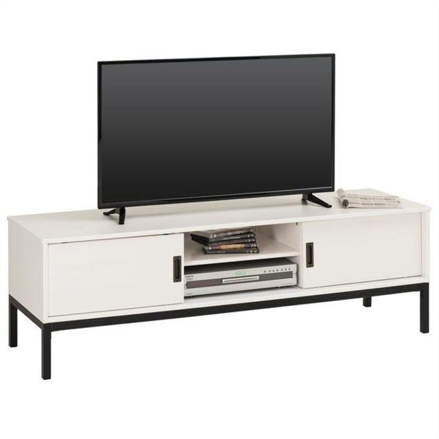 Idimex Meuble Tv Selma Banc Télé De 145 Cm Au Style Industriel
