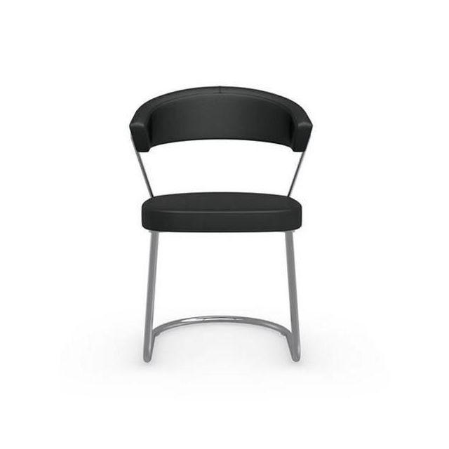 Inside 75 Chaise New York design italienne structure acier chromé assise cuir noir
